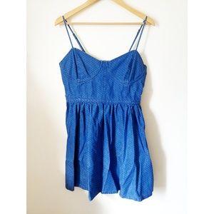 Free People Denim Polka Dot Cami Mini Dress